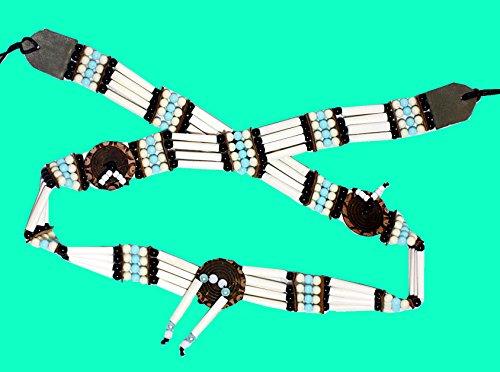 Indianer GÜRTEL WEISS mit Mandallas 85-90 cm. plus Bänder Bone Hairpipes echte Knochenröhrchen Knochengürtel Perlen