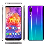 Jiayuane Smartphone 3G Desbloqueado, Pantalla Completa de 6.1', Android 5.1, 1G + 8GB, Doble Ranura SIM, Doble cámara, ID de Rostro, WiFi GPS 2050mAh Batería Púrpura