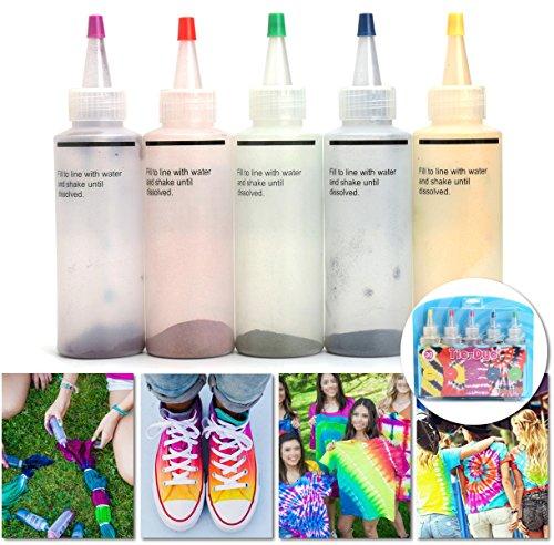Tie-Dye-Kit, essort Stoff Textil Farben Tie Dye Kit Vibrant Stoff Textil Permanent Farben mit 20 Stück Gummi Band und 4 Paar Vinyl Handschuhe