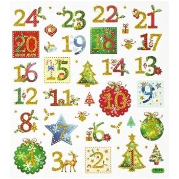 HOBBY-Design Sticker Adventszahlen 1 - 24, Bogen 15 x 16,5 cm