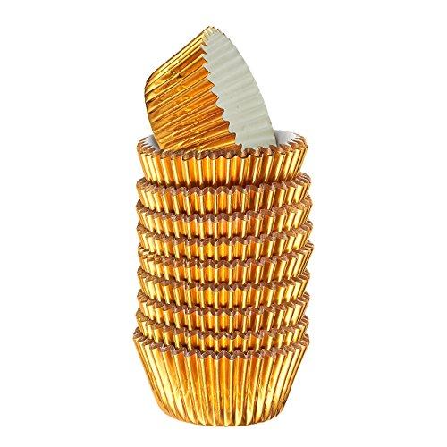 (Gold Cupcake Liners tlg. (o51180)–Bulk Dekorative Metallic Folie Papier Cupcake und Muffin Backförmchen für Geburtstag)