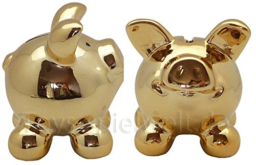 Swiggie Sparschwein Glücksschweinchen Gold Spardose 8,5 cm 13 cm 15,5 cm: Größe: 08,5 cm