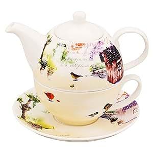 mallvoler porzellan tea for one set teekanne teetasse und untertasse set k che. Black Bedroom Furniture Sets. Home Design Ideas