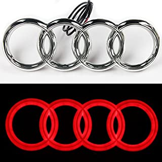 JetStyle [2018 UPGRADED] LED Emblem, Front Car Grill Badge, Auto Illuminated Logo, Glowing Rings, Lights DRL Daytime Running Lights Red
