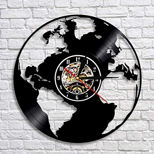 MSAMH 1 Stück Weltkarte Vinyl Uhr Globus Karte Uhr Wand Erde KarteWandkunstDekorSchallplatte Wanduhren Handamde Geschenk