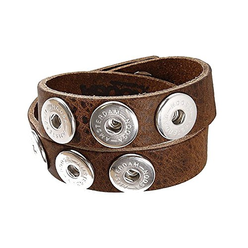 Noosa Armband double skinny mid brown ohne Chunks, Größe:M - Skinny Armband