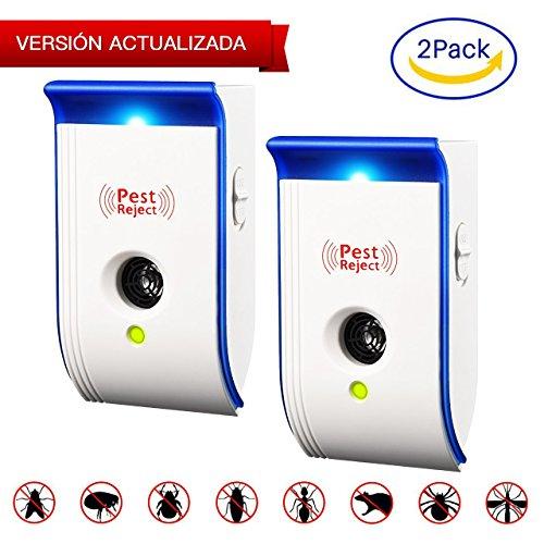 TOPELEK Repelente Ultrasónico de Control de Plagas x2, con Luz Nocturna, para Repelente Cucarachas, Ratas, Moscas, Mosquitos y Más Insectos Interior