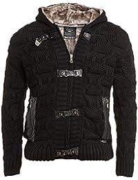 BLZ jeans - gilet noir capuche fourré zippé