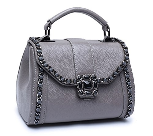 Xinmaoyuan Borse donna Lychee Pattern retrò portatile borsa tracolla messenger bag,grigio Grigio