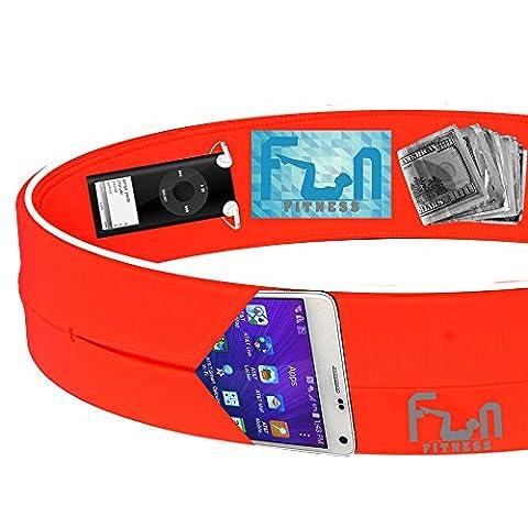 CEINTURE DE COURSE (Orange, XX-Grand) – Belt Sport Fitness Premium – Convient mieux pour les grand téléphones notamment l'iPhone 6/7 plus – Parfait pour les exercices d'entraînement, Gym, yoga et activités de plein air