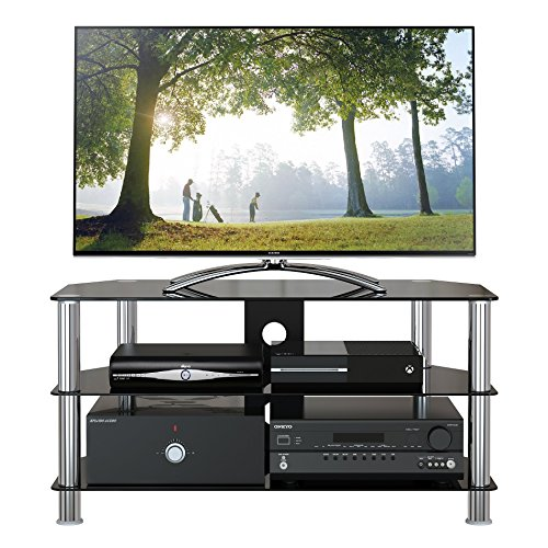 "1home Mobile Porta TV di Vetro Nero per LCD LED e Plasma TV da 32"" a 60"" GT4"