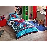 Spiderman Ultimate Einzelbett Kinderbettwäsche Bettdeckenbezug(160x220cm), Bettwäsche 100% Baumwolle mit Bettbezug, Spannbettlacke(100x200cm) und Kissenbezug(50x70cm) Für Jungs Made in der Türkei