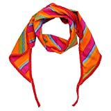 JaipurSe Summer Cotton New Styles Scarf, Stoles, Dupattas for Women's and Girl's Multi Color Laheriya Printed Triangular Scarf with Pom Pom Lace