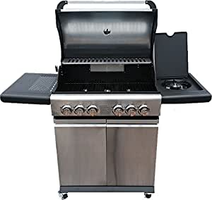 Gas BBQ with 4 Main Burners 1 Side Burner 1 Rear Burner And Stainless Steel Rotisserie