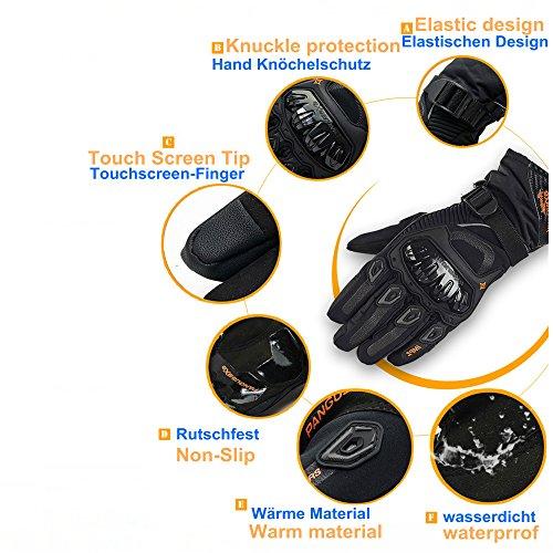 Motorrad Handschuhe Winter Warm Handschuhe Touch Screen Wasserdicht Winddicht Sporthandschuhe ( XL,Schwarz) - 4