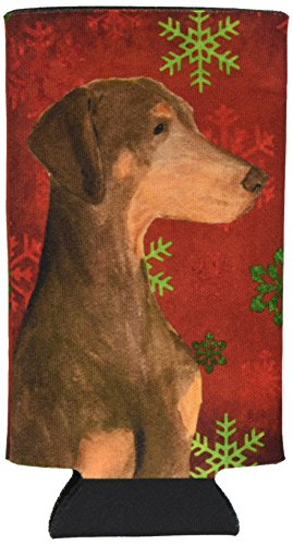 doberman-red-and-green-snowflakes-holiday-christmas-michelob-ultra-koozies-for-slim-cans-ss4686muk