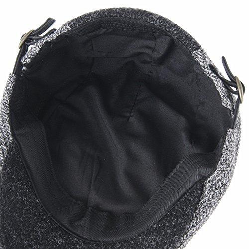 WITHMOONS Béret Casquette Chapeau Flat Cap Knitted Melange Two Color Block Ivy Hat LD3434 Gris