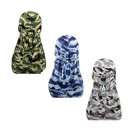 562cd2dfd1ed4 3pcs Packed Miltary Camouflage Colorful Premium 360 Waves Long Tail Silky Durag  Cap for Men Du