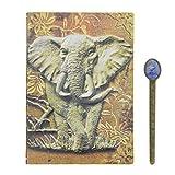 Notizbuch A5 PU Leder Tagebuch Retro Skizzenbuch mit Elefant Muster Hardcover Journal Reisetagebuch Liniert Notizheft für Schule Beruf und Büro