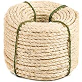 Yangbaga Natural Sisal Seil, Sisalseil für Kratzbaum, Mehrzweckseil Sisal, DIY und Austauchbar, eine Teil für Kratzbaum,30m, 8mm (mit einen Ball)
