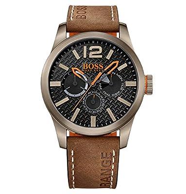 Hugo Boss Orange Paris Men's Quartz multi dial Brown Leather Strap 1513240