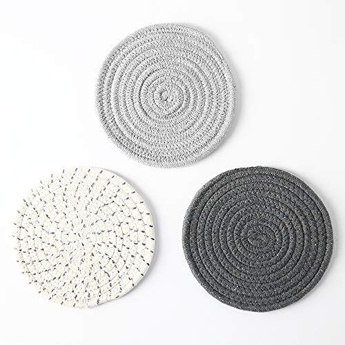 Huture Untersetzer Set Küche Hot Mats Pads 100% Reiner Baumwolle Thread Weave Topflappen Set Hot Pot Inhaber Baumwolle Untersetzer zum Kochen Backen Durchmesser 7 Zoll grau Serie (Thread-inhaber)