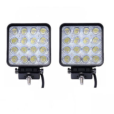 SAILUN Arbeitslicht 48W LED Offroad Flutlicht Spotlight Reflektor Scheinwerfer Arbeitsscheinwerfer 1600LM Schwarz Aluminium Druckguss IP67 2/4 Stück Per Set (2 Stück ) - Combo Rimorchio