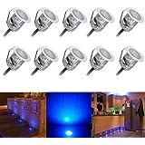 FVTLED 10x LED Spot Bleu Encastrables Etanche pour Terrasse Enterre - en Acier Inoxydable Ø30mm IP67 0.6W, LED Extérieur Lampe de Patio Paysage Jardin Etape Décoration