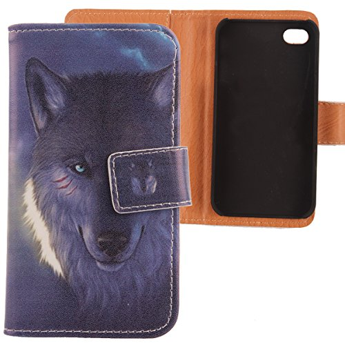 Lankashi PU Etui Housse Flip Coque Cover Cuir Case Protection Pour Apple iphone 5C Wing Girl Design Wolf