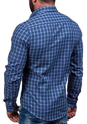 BOLF – Chemise casual – avec manches courtes – BOLF 6913 – Homme Bleu foncé