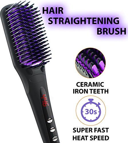 Cepillo Alisador de Pelo   Seguro para cuero   Plancha de cerámica con peine y con dientes de anti escaldamiento   Cepillo Eléctrico Antiestático