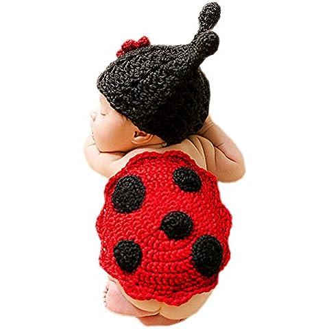 DELEY Bebé Recién nacido Crochet Tejer dibujos animados Mariquita Trajes Unisex Gorra Traje de Fotografía Props de 0-6