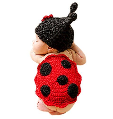 Bilder Marienkäfer Kostüm (DELEY Neugeborene Baby Häkelarbeit Knit Cartoon Marienkäfer Kostüme Unisex Cap Outfit Fotografie Requisiten 0-6)