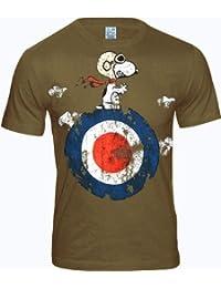 LOGOSH!RT PEANUTS Retro Comic Herren T-Shirt SNOOPY TARGET - KHAKI Gr. XL (L281)