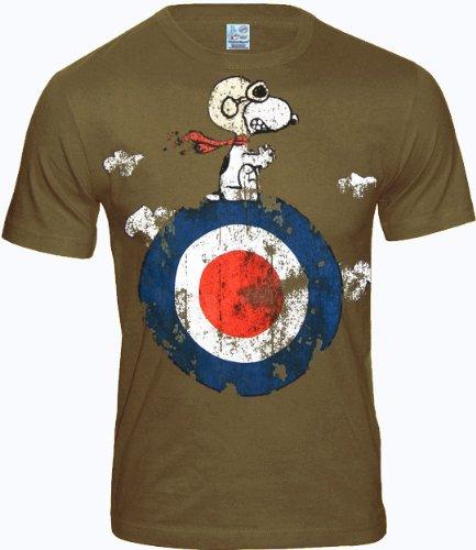 LOGOSH!RT PEANUTS Retro Comic Herren T-Shirt SNOOPY TARGET - KHAKI Gr. L (L262) (Retro Herren-khaki)
