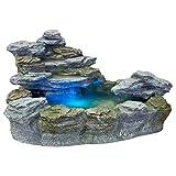 Stilista Olymp Fontaine Mystique Style Pierre pour Jardin et terrasse avec éclairage Rouge/Bleu/Jaune/Vert et Pompe Certifié TÜV GS + CE Env. 100 x 80 x 60 cm