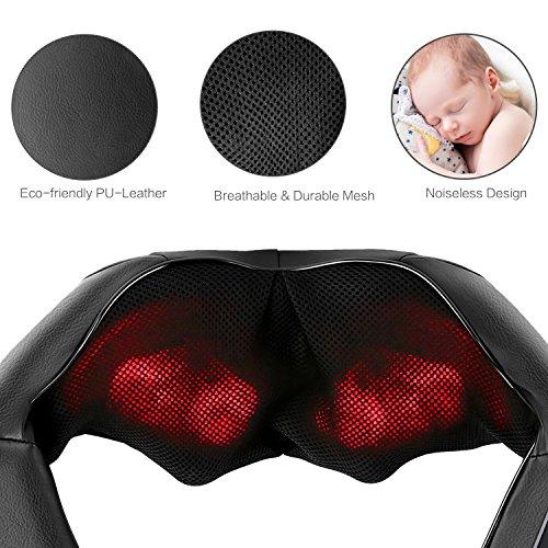 Naipo Masajeador de Cuello y Hombros Básico Shiatsu Masajeador Cervical con 3D Rotación y Función de Calor