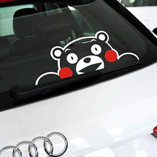 SPA 58x21cm : Aliauto Reflective Kumamon Pawing At The Window Hollow style Suit Dark Body Funny Car Sticker Decal For VW Golf 7 Skoda Kia