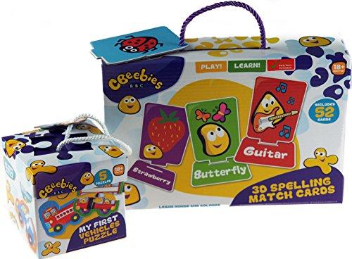 CBeebies 2-teiliges Geschenk Set–Meine erste Fahrzeug, Puzzle/3D Spell Match Karten (Baby-flash-karten Worte)