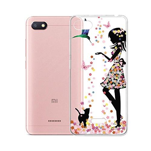 "IJIA Case Funda para Xiaomi Redmi 6A, Transparente Muchacha Romántica Falda Colorida Mariposa TPU Silicona Suave Cover Tapa Caso Parachoques Carcasa Cubierta para Xiaomi Redmi 6A (5.45"")"