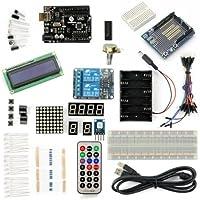SainSmart UNO R3 Starter Kit Con 18 di base Arduino Tutorial Progetti per principianti (1602 LCD e Prototype Shield e 2 -Channel 5V Relay inclusa)