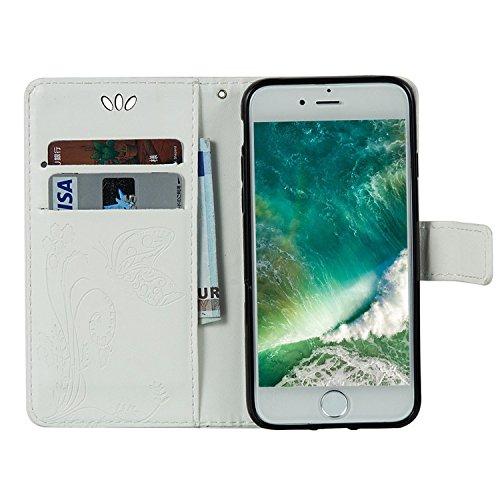iPhone 7 Hülle Lila 3D Mariposa Gras PU Leder Wallet Handytasche Flip Etui Schutz Tasche mit Integrierten Card Kartensteckplätzen und Ständer Funktion Für Apple iPhone 7 + Zwei Geschenk Weiß