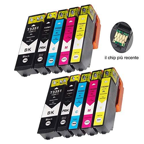 Teng 10 x Compatibile Epson 33XL 33 XL Cartuccia grande capacità per stampanti Epson XP-530 XP-540 XP-630 XP-635 XP-640 XP-645 XP-830 XP-900(2 nero, 2 foto-nero, 2 ciano, 2 magenta, 2 giallo)
