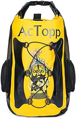 AcTopp Bolsa Seca Impermeable Mochila Bolsa Estanca Kayak Deporte Acuático Al Aire Libre Playa Camping Pesca Viaje 35L Color Amarillo/Azul