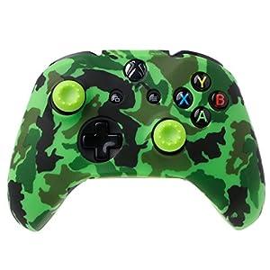 FXCO Camouflage Silikon Gamepad Cover Silikon Gamepad Hülle + 2 Joystickkappen für Controller