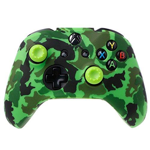 Jiamins Tarnung Silikon Gamepad Abdeckung + 2 Joystick Caps für Xbox One X S Controller (1) (Xbox One-staub-abdeckung)
