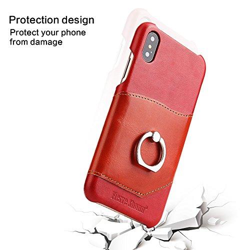 Coque iPhone X Aomo [Scratch-résistant] [Cash & Card Slots] porte-bague béquille 360 degré de rotation porte-bague Grip cuir de vache véritable housse de protection Etui pour Apple iPhone X (5,8 pouce Red