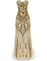 44fe4275c67b iShine Donne 1920s Eleganti Paillettes Gatsby Maxi Lungo Prom Vestito da  Sera Scollo a V Abito