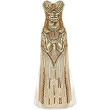 iShine Mujeres 1920 Gatsby V- Cuello Lentejuelas de Pescado Maxi Largo de Noche Vestido de