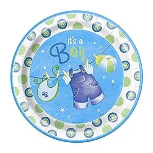 Partido Ênico 23 cm Platos Party fiesta de bienv (paquete de 8, Azul)